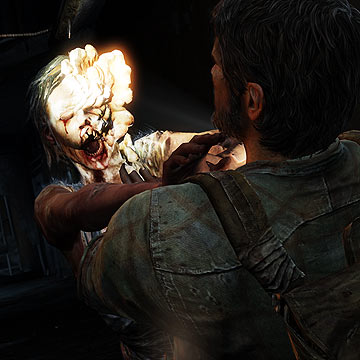 """Joel fends off an attack from a """"clicker,"""" a zombie with advanced stages of the Cordyceps infection, distinguishable from other infected individuals by its evolved facial protrusions. Image source: stuff.co.nz"""